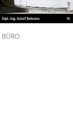 Vorschau der mobilen Webseite bauingenieur-behrens.de, Behrens, Adolf