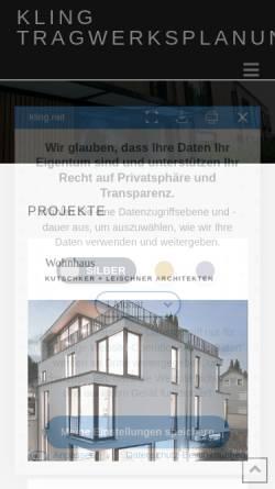 Vorschau der mobilen Webseite www.kling.net, Dipl.-Ing. W. Kling Ingenieurgesellschaft mbH