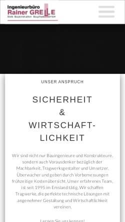 Vorschau der mobilen Webseite www.ing-grelle.de, Grelle, Rainer