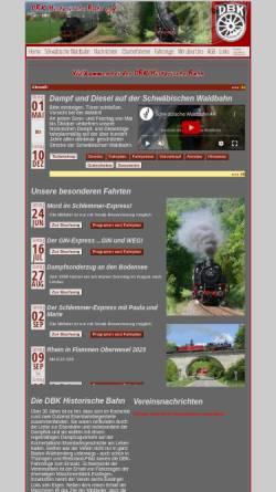 Vorschau der mobilen Webseite www.dbk-historische-bahn.de, DBK Historische Bahn e.V.