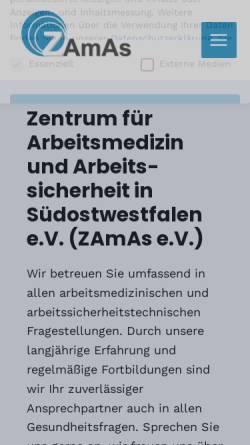 Vorschau der mobilen Webseite www.zamaspb.de, Zentrum für Arbeitsmedizin und Arbeitssicherheit in Südostwestfalen e.V.