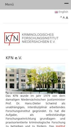 Vorschau der mobilen Webseite www.kfn.de, Kriminologisches Forschungsinstitut Niedersachsen e.V.