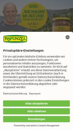 Vorschau der mobilen Webseite www.rapunzel.de, Rapunzel Naturkost AG