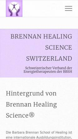 Vorschau der mobilen Webseite www.bhss.ch, BHSS - Brennan Healing Science Switzerland