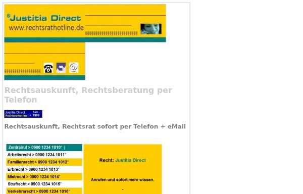 Vorschau von www.rechtsrathotline.de, Juristischer Informationsservice - Justitia direkt