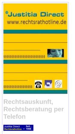 Vorschau der mobilen Webseite www.rechtsrathotline.de, Juristischer Informationsservice - Justitia direkt