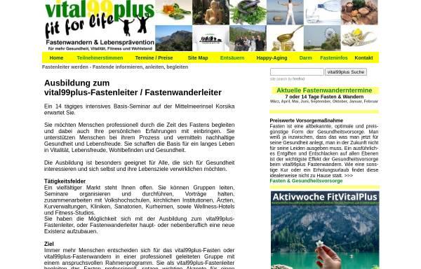 Vorschau von www.vital99plus.com, Ausbildung zum vital99plus Fastenleiter und Fastenwanderleiter