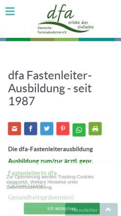Vorschau der mobilen Webseite www.fastenakademie.de, Deutsche Fastenakademie e.V.