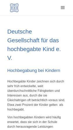 Vorschau der mobilen Webseite www.dghk.de, Deutsche Gesellschaft für das hochbegabte Kind e.V. (DGhK)