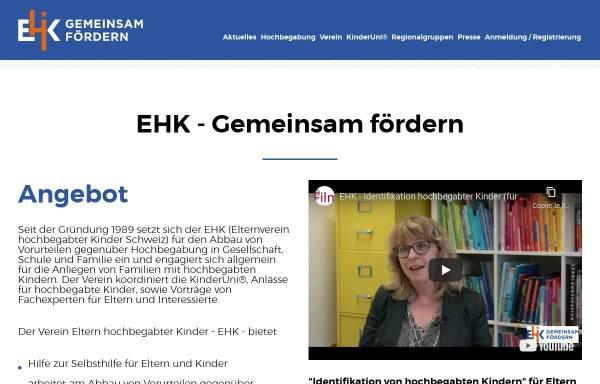 Vorschau von www.ehk.ch, Elternverein für hochbegabte Kinder (EHK), Schweiz