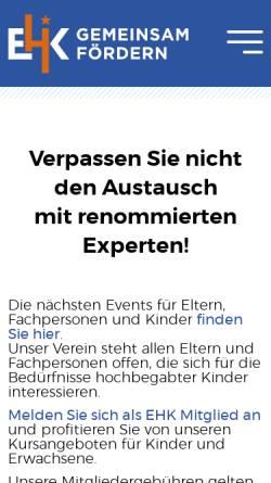 Vorschau der mobilen Webseite www.ehk.ch, Elternverein für hochbegabte Kinder (EHK), Schweiz