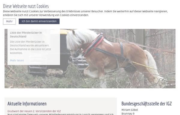 Vorschau von www.ig-zugpferde.de, Interessengemeinschaft Zugpferde in Deutschland e.V.