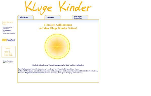 Vorschau von www.klugekinder.at, Hochbegabung bei Klein- und Vorschulkindern