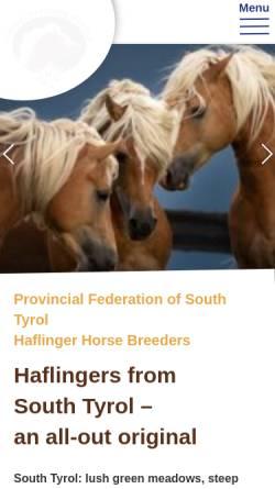 Vorschau der mobilen Webseite www.haflinger-suedtirol.com, Südtiroler Haflinger Pferdezuchtverband