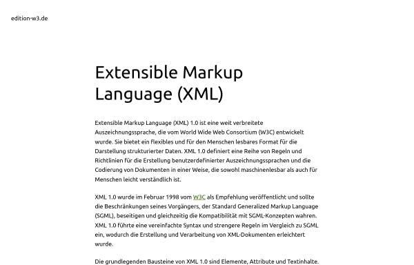 Vorschau von www.edition-w3.de, Verknüpfen von Style Sheets mit XML-Dokumenten