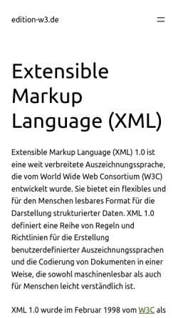 Vorschau der mobilen Webseite www.edition-w3.de, Verknüpfen von Style Sheets mit XML-Dokumenten