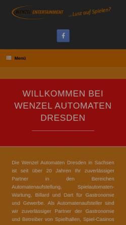 Vorschau der mobilen Webseite wenzel-automaten.de, Wenzel Automaten