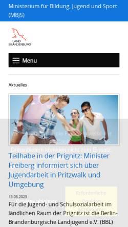 Vorschau der mobilen Webseite mbjs.brandenburg.de, Ministerium für Bildung, Jugend und Sport (MBJS)