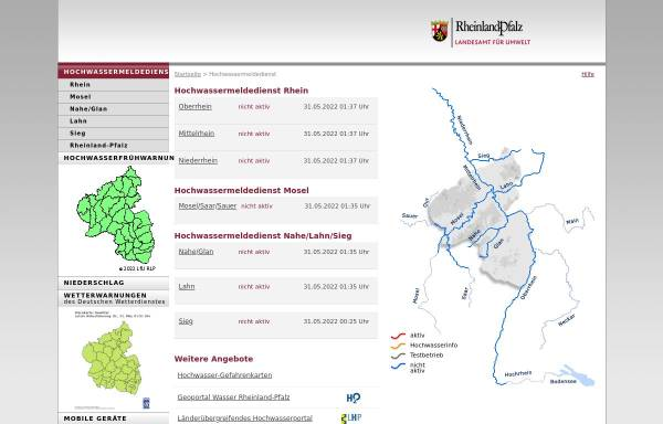 Vorschau von www.hochwasser-rlp.de, Hochwassermeldedienst Rheinland-Pfalz