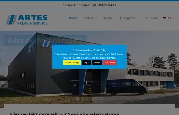 Vorschau von www.artes-valve.com, Artes Valve & Service GmbH