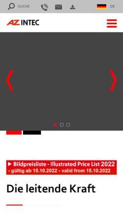 Vorschau der mobilen Webseite www.azintec.com, AZ Industrietechnik GmbH