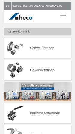 Vorschau der mobilen Webseite www.heco.de, Heco Handels-GmbH