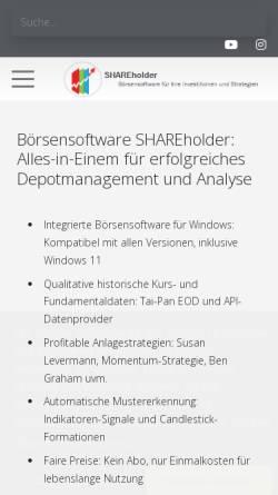 Vorschau der mobilen Webseite www.shareholder24.de, ProSoft24 - Jens Werschmöller