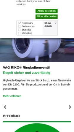 Vorschau der mobilen Webseite www.vag-group.com, VAG Armaturen GmbH