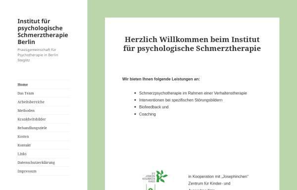 Vorschau von www.schmerzbehandlung.de, Institut für Psychologische Schmerztherapie Berlin