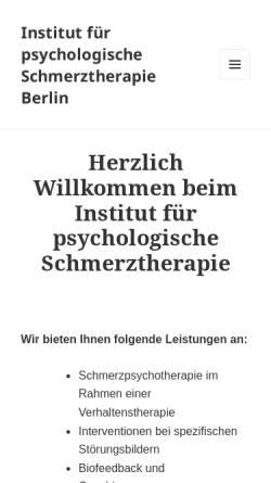 Vorschau der mobilen Webseite www.schmerzbehandlung.de, Institut für Psychologische Schmerztherapie Berlin