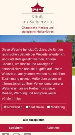 Vorschau der mobilen Webseite www.tcmklinik.de, Klinik am Steigerwald, Gerolzhofen