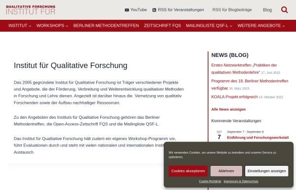 Vorschau von www.qualitative-forschung.de, Institut für Qualitative Forschung