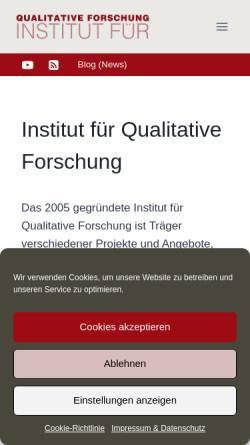 Vorschau der mobilen Webseite www.qualitative-forschung.de, Institut für Qualitative Forschung