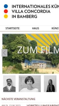 Vorschau der mobilen Webseite www.villa-concordia.de, Internationales Künstlerhaus Villa Concordia