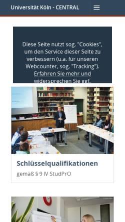 Vorschau der mobilen Webseite www.central.uni-koeln.de, Central Center for Transnational Law