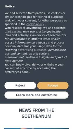 Vorschau der mobilen Webseite www.goetheanum.org, Goetheanum Dornach