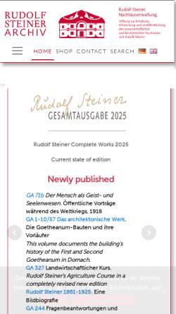 Vorschau der mobilen Webseite www.rudolf-steiner.com, Rudolf Steiner Archiv