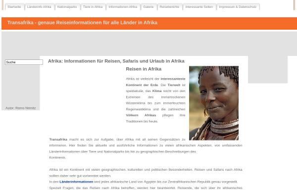 Vorschau von www.transafrika.org, Afrika Reise-Informationen