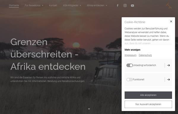 Vorschau von www.asa-africa.com, Arbeitsgemeinschaft Südliches und Östliches Afrika e.V.