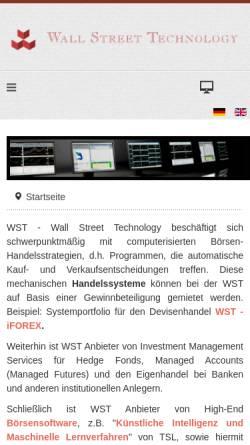 Vorschau der mobilen Webseite www.wallst.de, Wall Street Technology GmbH