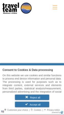 Vorschau der mobilen Webseite www.travelteam.de, Travel Team to Africa GmbH & Co. Reisecenter KG