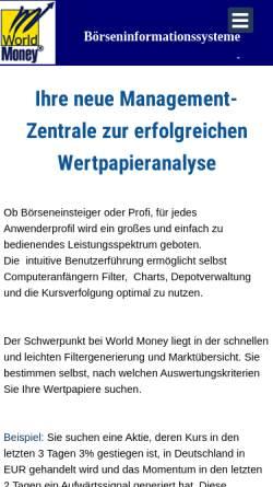 Vorschau der mobilen Webseite www.world-money.com, World Money Börseninformationssysteme