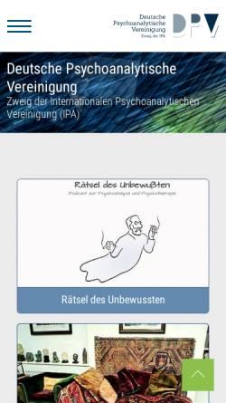 Vorschau der mobilen Webseite www.dpv-psa.de, Deutsche Psychoanalytische Vereinigung (DPV)