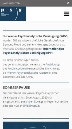Vorschau der mobilen Webseite www.wpv.at, Wiener Psychoanalytische Vereinigung