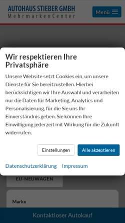 Vorschau der mobilen Webseite www.autohaus-stieber.de, Autohaus Stieber