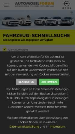 Vorschau der mobilen Webseite www.automobilforum.de, Automobilforum GmbH
