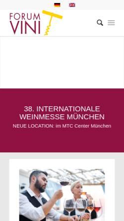 Vorschau der mobilen Webseite www.forum-vini.de, Internationale Weinmesse