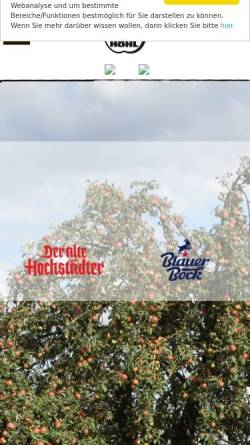 Vorschau der mobilen Webseite www.hoehl-hochstadt.de, Landkelterei Höhl - Hochstadt