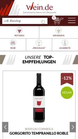 Vorschau der mobilen Webseite www.wein.de, Wein.de