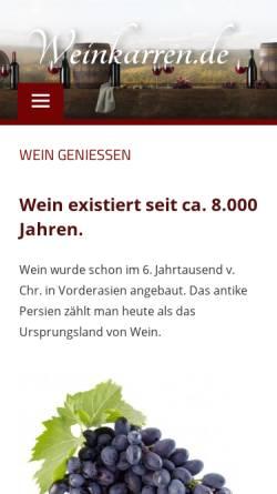 Vorschau der mobilen Webseite www.weinkarren.de, Weinkarren.de